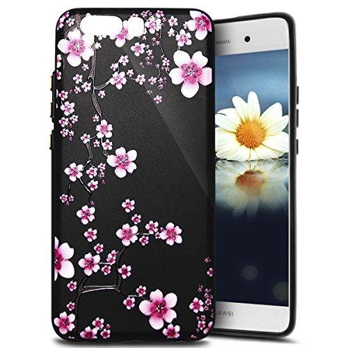 Ukayfe Custodia Cover Huawei P10 Plus Silicone, Sollievo Design Colorato Cristallo Nero Ultra Sottile Morbido Soft TPU Gel Case Silicone Cover per Huawei P10 Plus Flessibile Shell-Ciliegia