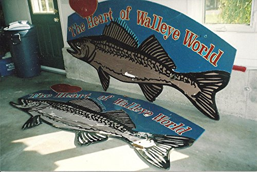 POSTER One series photographs taken Diane Myers 'Heart Walleye World' signs which stood entrances Deseronto Ontario number years. photograph shows two original signs which had become damaged which were replaced 2006 new ones painted Diane. Deseronto eastern Ontario Canada Wall Art Print A3 replica