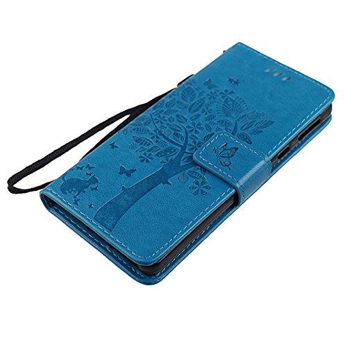 Sony E5 Custodia Pelle Cover Case HuaForCity® Portafogli Custodia in Pelle PU Copertina con Slot per schede Magnetica Flip Chiusura Stile del Libro Supporto Funzione Bumper Caso for iphone Sony E5 Cus Blu