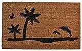 Liveinu Kokosfaser Schmutzfangmatte Fußmatte Türvorleger Sauberlaufmatte Fußabstreifer für Haustür Innen und Außen Tropische Palme 50x80cm