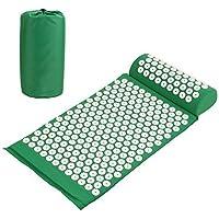Amzdeal Esterilla Acupresion Kit con Almohda y Bolsa para Acupuntura y Moxibustión Yoga( verde)