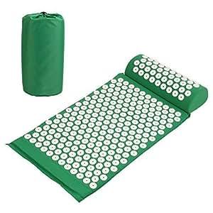 amzdealSet Tappetino Agopressione, Include Tappetino per Agopressione+ Cuscino + Borsa, per Massaggi Che alleviano i dolori a Schiena e Collo, Verde