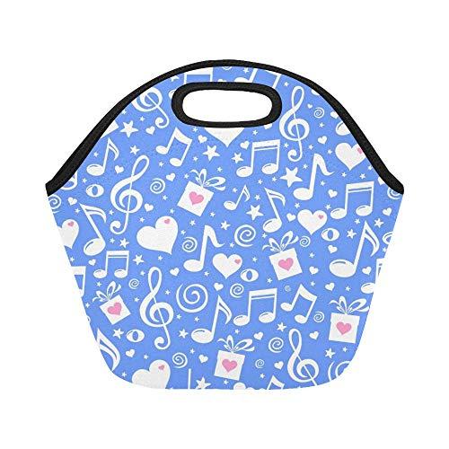 Isolierte Neopren-Lunch-Tasche Happy St Valentines Day Blue Große wiederverwendbare thermische dicke Lunch-Tragetaschen für Brotdosen für den Außenbereich, Arbeit, Büro, Schule (Für Valentines Box-ideen Jungen)