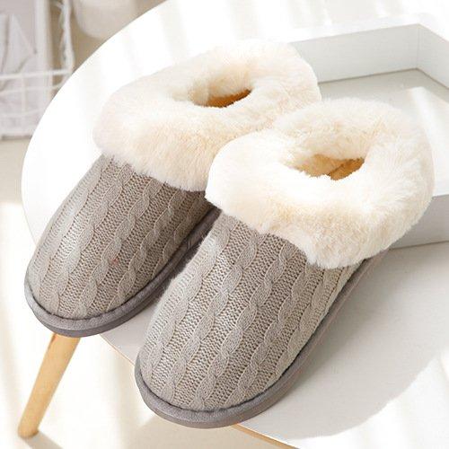 DogHaccd pantofole,In autunno e inverno a maglia jacquard, piscina termale pacchetto con il fiore hit-colore coppie di maglieria home pantofole Grigio1