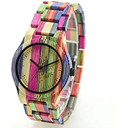 Koiiko Unisex Quartz Watch Colorful Bamboo Wooden Watch Japan Movement Life Water Resistant Wristwatches