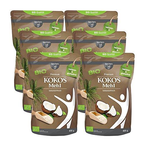 6 x borchers Bio Premium Kokosmehl, zum Kochen und Backen, Ballaststoffreich, Proteinquelle, Weizenfrei, Entölt, Vegan 400 g (6 x 400 g)