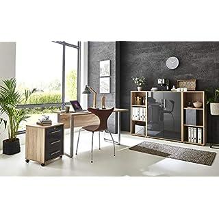 BMG-Moebel.de Büromöbel komplett Set Arbeitszimmer Office Edition Mini in Sonoma Eiche/Anthrazit Hochglanz (Set 2)
