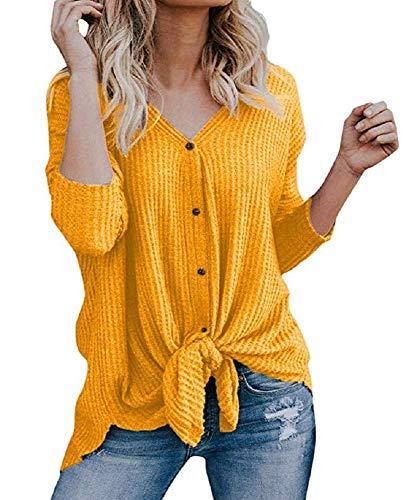 Smile Fish Gestricktes Langarm Henley Shirt Damen lose V-Ausschnitt Knopf Strickjacke T-Shirt L?ssig Bodenbildung Shirt Top Fledermausfl¨¹Gel Plain Shirts(Yellow,XL) - Back Tie Front Shirt