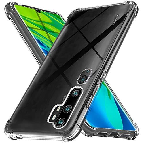 Ferilinso Cover per Xiaomi Mi Note 10 /Note 10 PRO Cover, [Rinforzare la Versione con Quattro Angoli] [Protezione per la Fotocamera] Custodia Protettiva in Silicone Morbido Antiurto TPU (Trasparente)