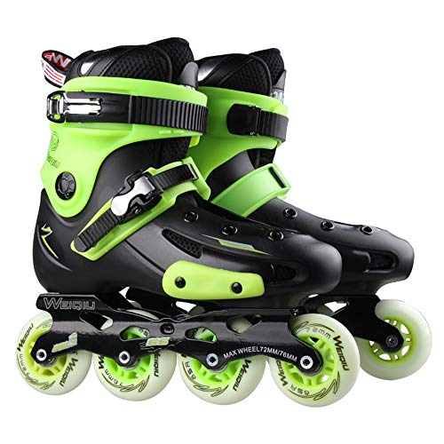 SKATE Patins à roues alignées sport réglables pour les enfants et les adultes, patins à roues alignées avec toutes les roues lumineuses pour filles et garçons Rouleau (Couleur : Green, taille : 38)