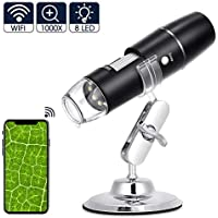 eecoo Microscopio Digitale WiFi, Microscopio Tascabile Portatile Ricaricabile HD, Endoscopio Ingrandimento 1000X, 8 LED, USB 2.0, Supporto in Metallo per iPhone iOS Android iPad