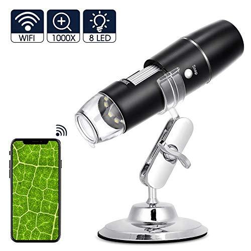 WiFi Mikroskop Kamera Digital Mikroskop, HD 0,3 MP Kinder Kamera 1000 x Vergrößerung Magnification mit 8-LEDs, Microscope für Android IOS ipad