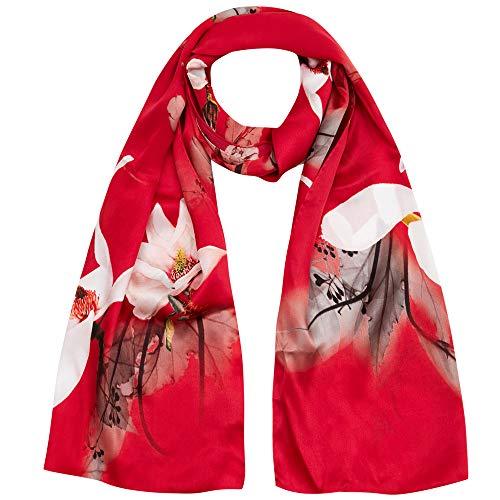 872203f94eda6 Seidenschal Damen 100% Seiden Satin Schal Elegante Seidentuch  Hautfreundlich Anti-Allergie Halstuch 170   55cm (Rot) MEHRWEG