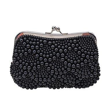 Women's Luxus Hochwertige Imitation Pearl Abend Tasche Black