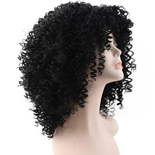 (wig Kleine Rolle Kurzes Haar Weibliche Perücke Multicolor Mode Explode Perücke Halloween Cosplay Hitzebeständige Synthetische Perücke Kopf Set 130G, Black)