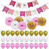 40 Stück Geburtstag Dekoration ,Kindergeburtstag Deko,9 Papierblumenball 1 Happy Birthday Banner Fahnen 30 Ballons Deko