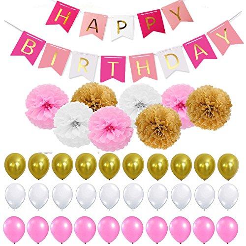 40 Stück Geburtstag Dekoration ,Kindergeburtstag Deko,9 Papierblumenball 1 Happy Birthday Banner Fahnen 30 Ballons Dekoration Set für Mädchen und Jungen Jeden Alters,Geburtstag,Hochzeit,Karneval,Baby-Partys etc (rosa weiß)