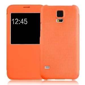 JAMMYLIZARD | Fenster Hülle für [ Samsung Galaxy S5 / S5 Neo ] Flip Case Cover mit Magnetverschluss, ORANGE