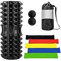 Odoland Foam Roller Kit 8-en-1, Kit de Espuma con Bolas de Masaje y Bandas de Resistencia Elástica - Rodillo de Espuma de Alta Densidad para Terapia Muscular y Ejercicio de Equilibrio