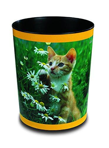 Läufer 26653 Papierkorb mit Motiv Katze mit Blume, 13 Liter Mülleimer, perfekt für das Kinderzimmer, rund, stabiler Kunststoff (Läufer Blumen)