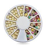 Hot 3d Nail Art Pearl Rhinestones Wheel,5mm Nail Stylish Tool Metal Studs Gems...
