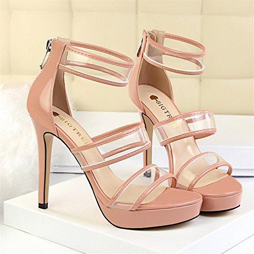z&dw Fashion pédicure super haute avec table étanche mot transparent creux avec sandales Couleur nue