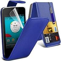 (Blue) Vodafone Smart 4 Mini personalizzata Equipaggiata di protezione carta di Faux di Credito / Debito cuoio di vibrazione della cassa della pelle della copertura, schermo di tocco penna stilo a scomparsa, schermo di tocco penna stilo a scomparsa e schermo LCD proteggi By Spyrox