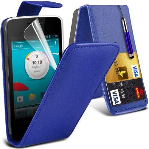 Vodafone Smart 4 Mini Premium Top Flip PU Leder Case Skin Cover + LCD Screen Protector Film & Mini Retractable Stylus Pen by ONX3® (Blau) (Stylus Lcd)