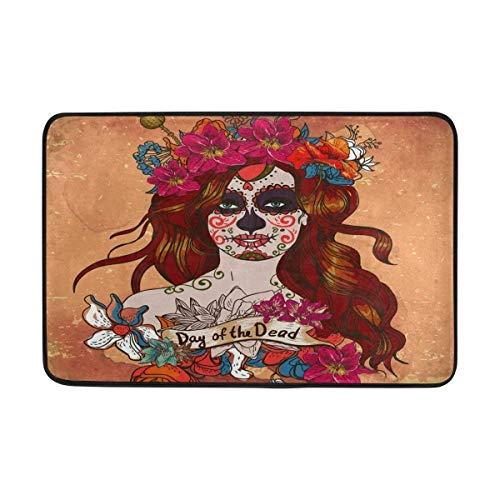 Rghkjlp Custom Girl with Sugar Skull Day of The Dead Welcome Door Mat Rug Indoor/Outdoor Mats Welcome Doormat Decor Rug ES 31.5 x 19.5 ()