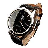 YaZhuoLun Herren Armbanduhr Quarzuhr,Kalenderanzeige Legierung PU-Leder Wasserdicht Uhren Uhr Geschäftsuhr(Schwarz)
