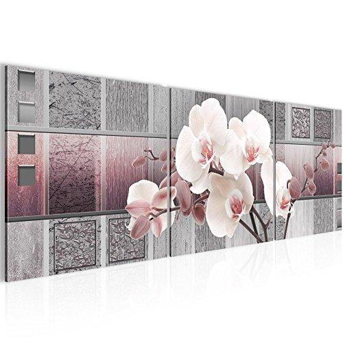 Bild 120 x 40 cm - blumen Bilder- Vlies Leinwand - Deko für Wohnzimmer -Wandbild - XXL 3 Teile Teile - leichtes Aufhängen- 800733c