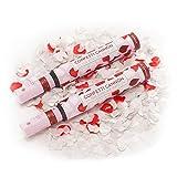 Konfetti-Shooter Rote Rosenblätter & Weiße Herzen 50 cm - Party Popper Konfettikanone Konfettishooter Streamer - für Hochzeit, Party, Valentinstag & Co. - PARTYMARTY GMBH® (2er-Pack)