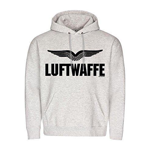 BW LUFTWAFFE Bundeswehr Schwingen Flügel Mannheim Militär Pullover Kapuzenpulli Schriftzug #20138, Größe:XXL, Farbe:Grau
