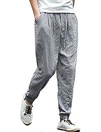 Minetom Uomo Ragazzo Pantalone Casual Traspirante Lungo Lino Cotone Leggero  Estivo Slim Cerniera Elastic con Comodo d408495e1eac