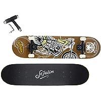 Sefulim Skateboards para Deportes Y Juegos Al Aire Libre Skate Longboard Cruiser Scooter Freestyle con Patrón De Moto Marrón Penny Monopatin