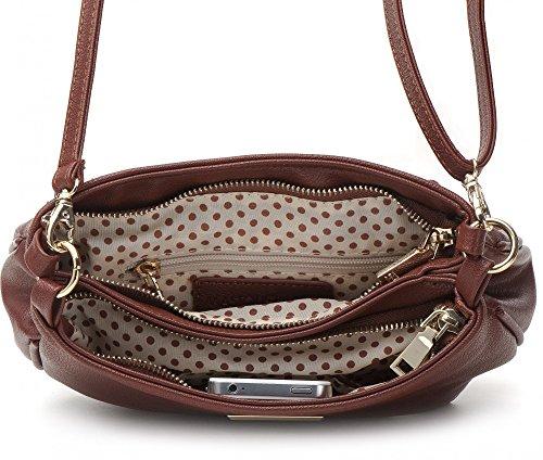 MASQUENADA, borsa da donna, Borsa a tracolla, Borsa con manico, Borsa con tracolla, 22 x 16 x 7 cm marrone cognac
