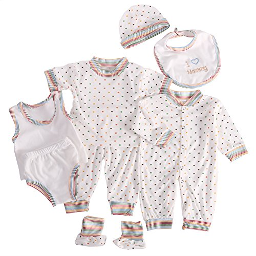 WANGSAURA Baby Infant 8pcs Cotton Clothing Set (Overall+Bib+Pajama+Cap+Footies+Vest-Briefs) Newborn Caring Gift (Rainbow)