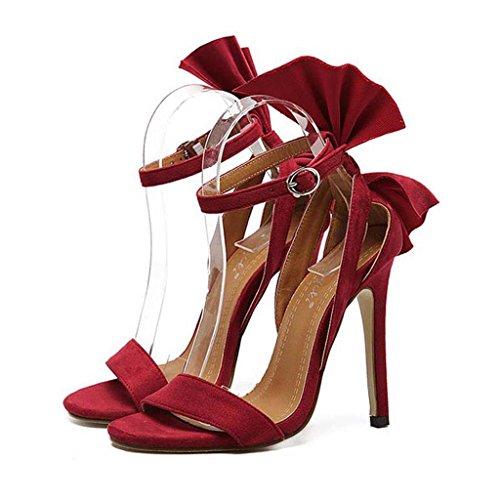 SHEO sandales à talons hauts Ladies Europe et les États-Unis talons hauts bien avec un mot boucle avec des sandales ( Couleur : Rouge , taille : 40 ) Rouge