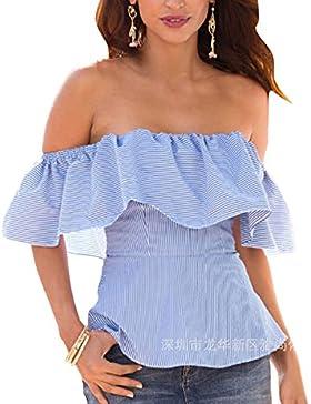 Camisas Sin Mangas - Mujeres Moda Hombro Sin Tirantes Tops Camiseta Blusa