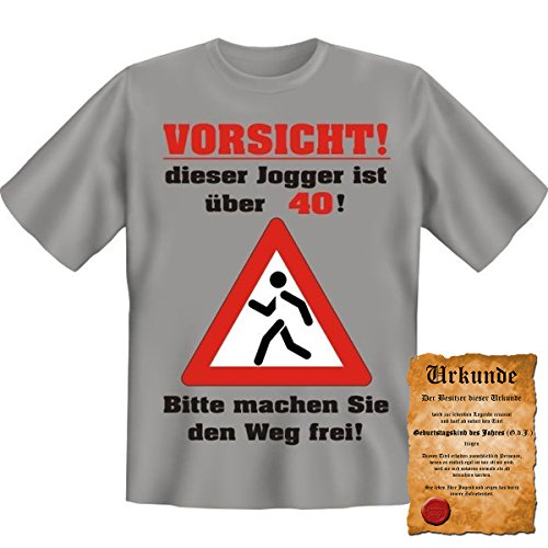 Vorsicht! Dieser Jogger ist über 40! Fun T-Shirt in Graumeliert mit Gratis Urkunde! Grau