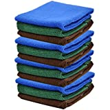 12 Pack 30 x 30cm Microfibre Magic Cleaning Cloths.three color(blue,coffee,green)Chemical Free Cleaning. Anti Bacterial Microfibre Cloths fo car towels Cleaning Accessories. (12pack 30 x 30cm)