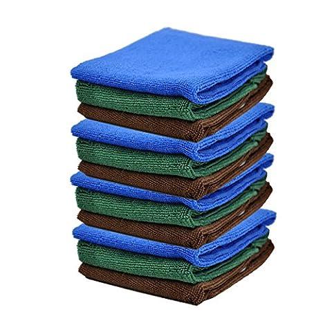 Yinglite Chiffons en microfibre Chiffons - Grand 30cm x 30cm - Bleu - Idéal pour le nettoyage des voitures, bateaux, cuisines etc (30x30cm Lot de 12)