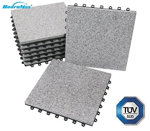 BodenMax® Granit Click Bodenfliesen Set 30 x 30 cm Terassenfliesen Terassenplatte Stein Fliese Klickfliesen grau (8 Stück)