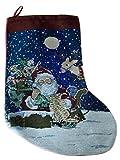 """Christmas Stocking - Santa and Reindeer with LED Lighting - 17"""" Tall"""