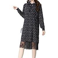 ALUK- La versión coreana de la primavera y el otoño vestido retro apacible floral falda de gasa floral mujeres ( Color : C , Tamaño : One Size )