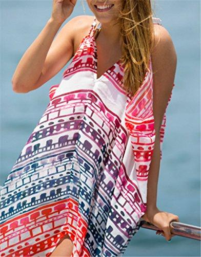IWFREE Damen Strandponcho Kaftan Poncho Strand Oberteile Tunika Beach Sexy Sommer Bikini Push up Strandkleid Boho Bikini Cover Up Boho Chiffon Rot