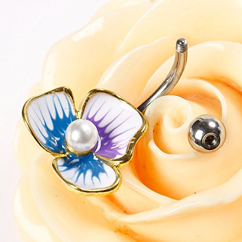 Bodya Piercing nombril en acier plaqué or en forme de fleur colorée à 3pétales Tête avec perle Ton platine purple/blue