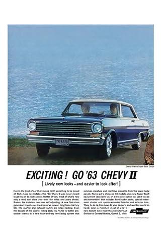 Classic und Muscle Car-Anzeigen und Auto Art 1963Chevrolet Chevy II Nova AD digitalisierte, & Remastert Auto Plakat Poster Print