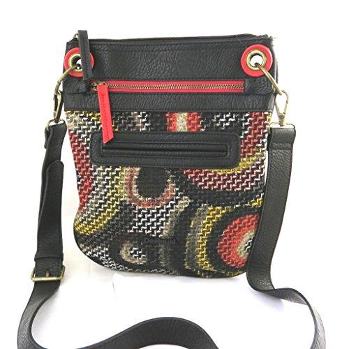 Bolsa de hombro 'Desigual'negro rojo multicolor.