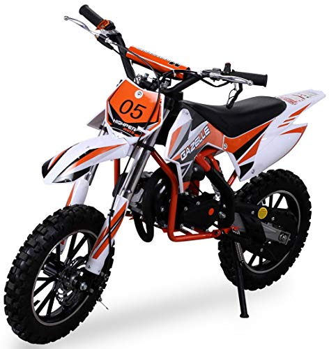 Kinder Mini Crossbike Gazelle 49 cc 2-takt inklusive Tuning Kupplung 15mm Vergaser Easy Pull Start verstärkte Gabel Dirt Bike Dirtbike Pocket Cross (Orange)
